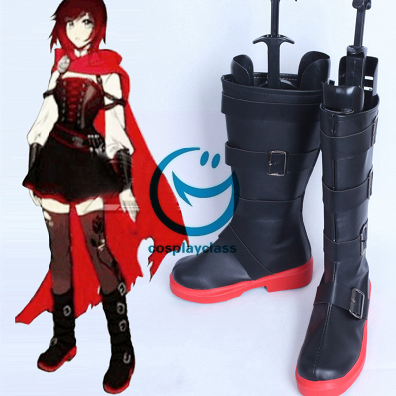 RWBY Volume 4 Ruby Rose Black Shoes Cosplay Boots
