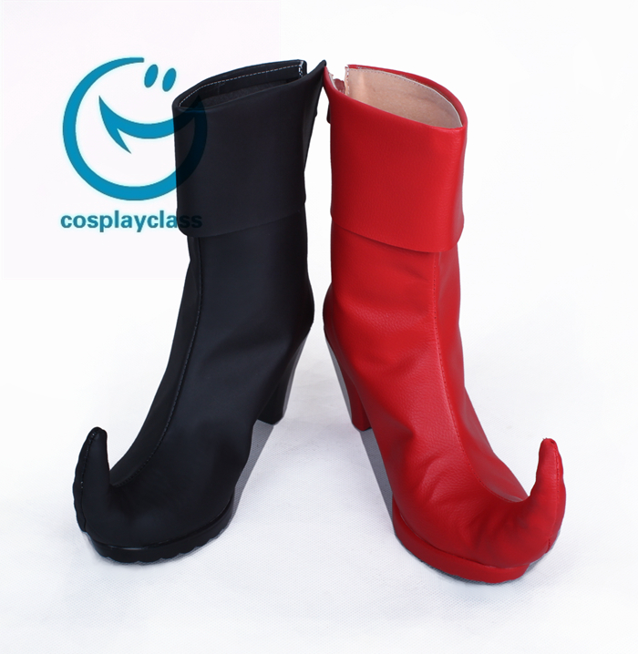 7dce7e597350db DC Comics Batman Arkham Asylum Harley Quinn Joker Black And Red Shoes  Cosplay Boots - CosplayClass