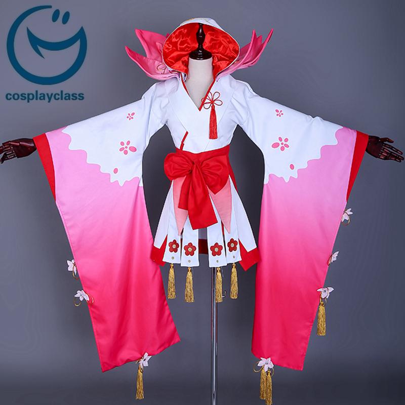 Onmyoji Shikigami Peach Blossom Kimono Cosplay Costume ...