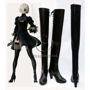 cw12340 NieR Automata 2B YoRHa No. 2 Type B Cosplay Boots(New) (1)