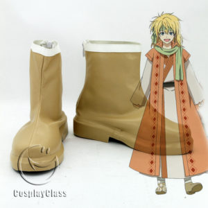 cw11765 Akatsuki no Yona Yona of the Dawn Zeno Yellow Dragon Warrior Brown Cosplay Shoes (1)