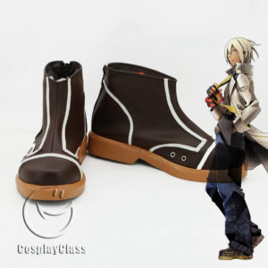 cw11810 God Eater Soma Schicksal Brown Cosplay Shoes (1)