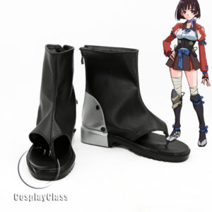cw11855 Kabaneri of the Iron Fortress Mumei Black Cosplay Shoes (1)