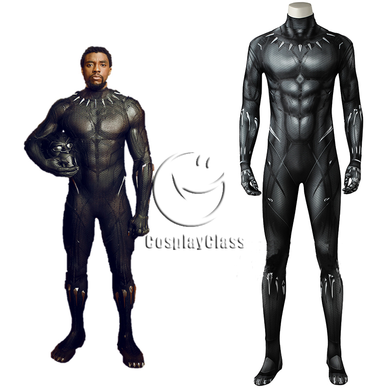 Marvel Black Panther 2018 Movie T Challa Black Panther Printed Jumpsuit Cosplay Costume Cosplayclass