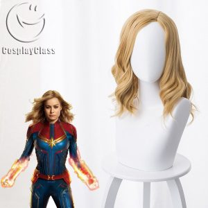 Captain Marvel Carol Danvers Gold Cosplay Wig