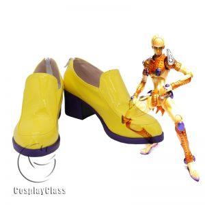 JoJo`s Bizarre Adventure Golden Wind Gold Experience Yellow Cosplay Shoes