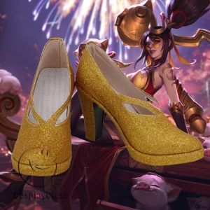 League of Legends LOL Shauna Vayne the Night Hunter Gold Cosplay Shoes