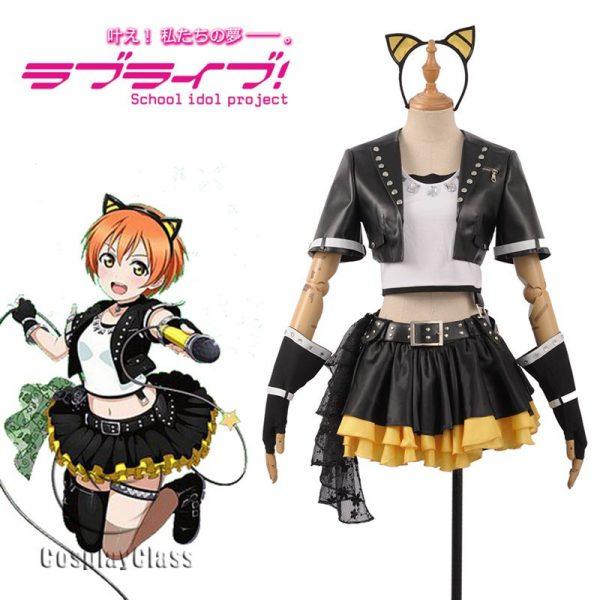LoveLive! μ's Rin Hoshizora Rock Cosplay Costume