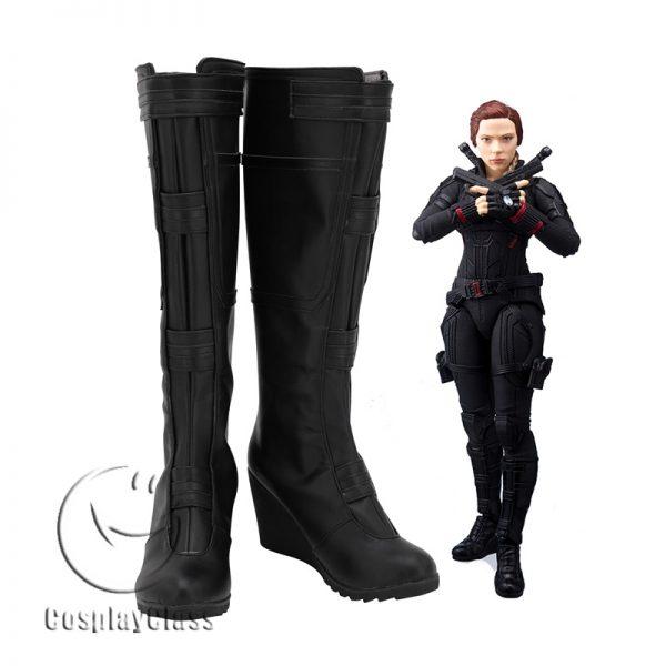 Avengers Endgame Black Widow Black Cosplay Boots